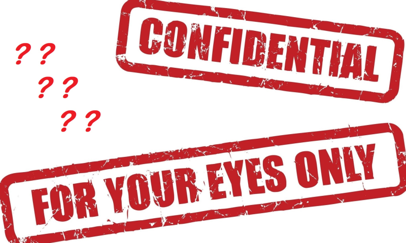 Confidential eyes only stamps with question marks