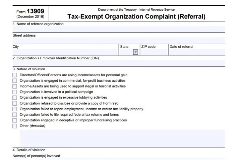 Form 13909 tax exempt status violation reporting form excerpt1