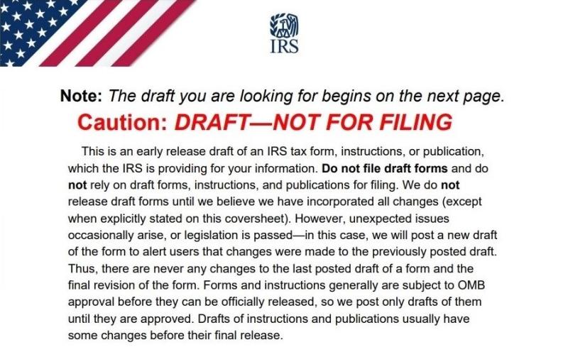 IRS draft tax form notice