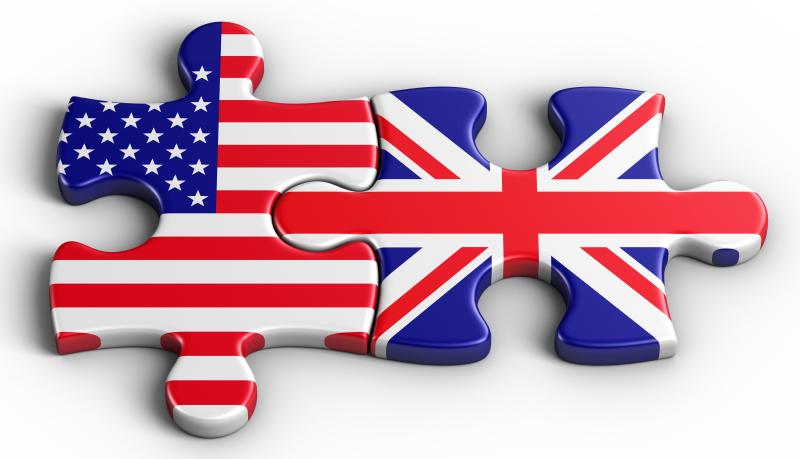 US-UK jigsaw puzzle pieces interlocked