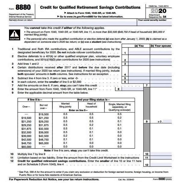 Form 8880 Retirement Savers Credit_IRS-form