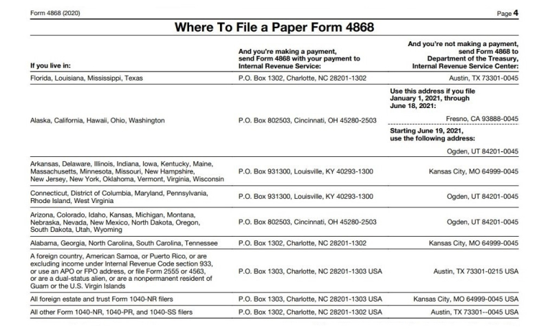 Where to file a paper Form 4868 ty2020