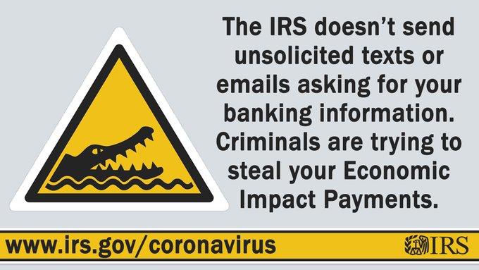 Covid coronavirus scam alert graphic IRS