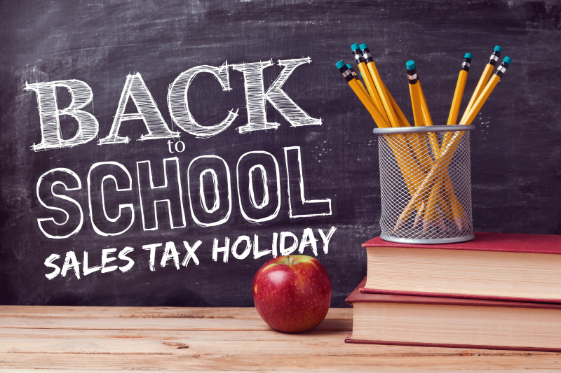Back to school sales tax holiday blackboard apple books pencils