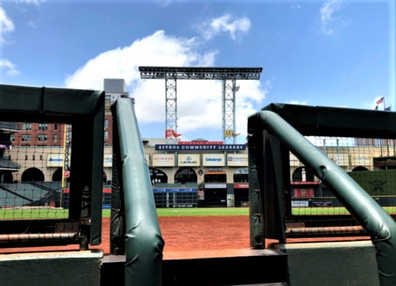 Astros pennants view from home dugout Minute Maid Park May 2019