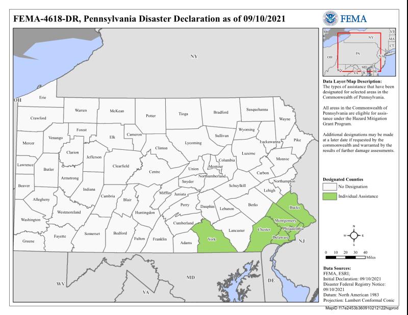 Pennsylvania FEMA Ida declaration 4618_091321