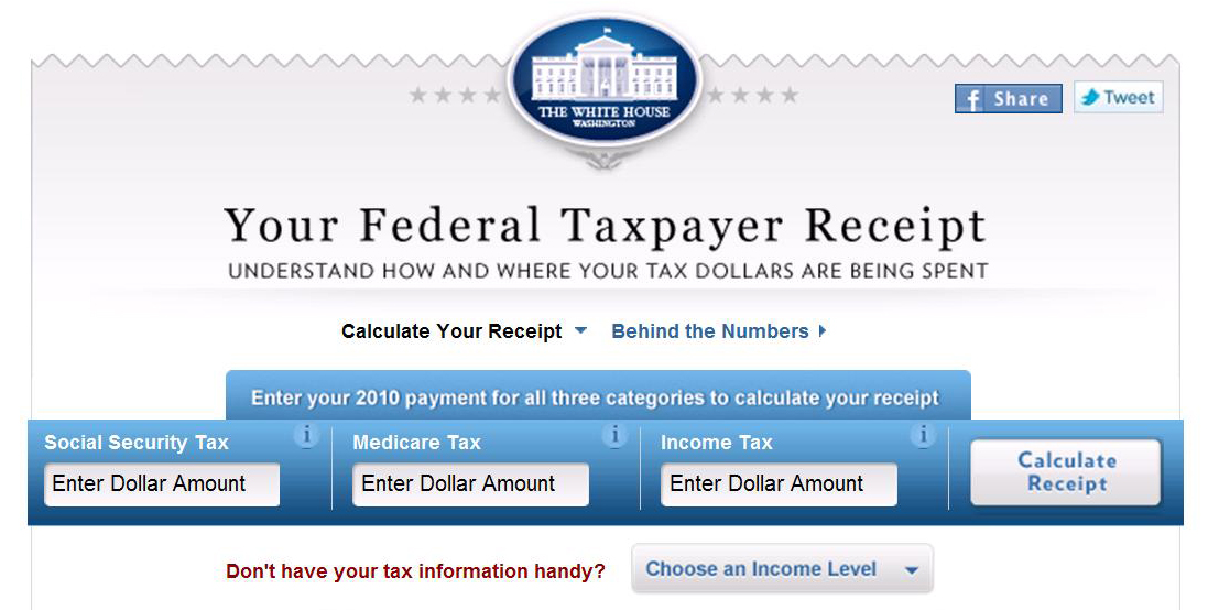 White House taxpayer receipt calculator