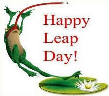 Leaping frog Leap Day; click image for more on Leap Years