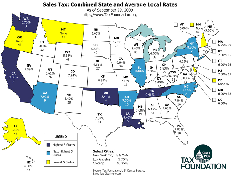 state_sales_taxes_TaxFoundation_Sept09